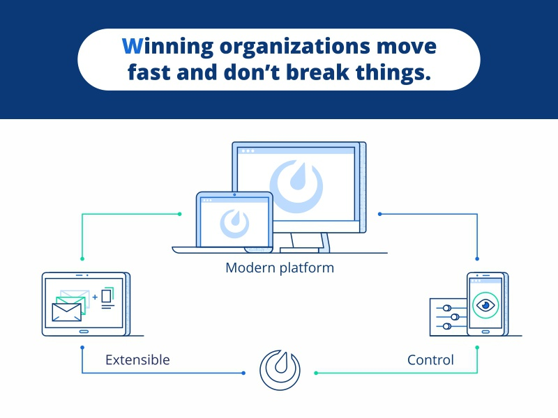Winning Organization design illustration tasks project transfer data help web connection service technology winning organization