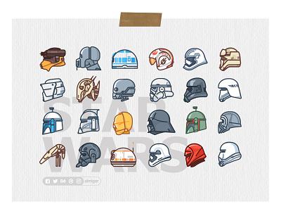 Star Wars Poster boba fett darth vader death star droid icons kylo outline r2d2 star wars stormtrooper helmet character