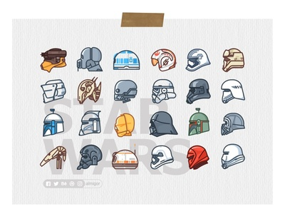Star Wars Poster boba fett darth vader death star droid icons kylo outline r2d2 star wars stormtrooper helmet character