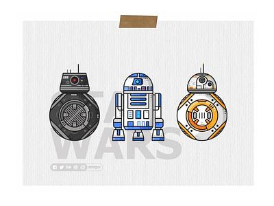 Droids Poster icons simple bb8 darth vader stormtrooper r2d2 joda robot jedi star wars droids bb8e