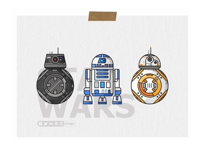 Droids Poster icons simple bb8 darth vader stormtrooper r2d2 joda robot jedi star wars droids bb8e
