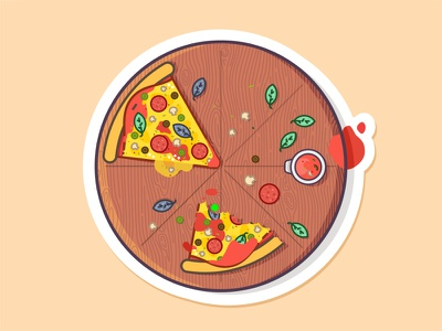 Vinny's Pizza 🍕 pizza sausage cheese food love slice wood tasty pepperoni design illustration