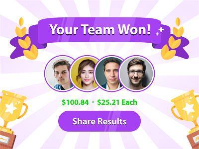 Your Team Won achievement badge contest users illustration trophy winner flat success team win