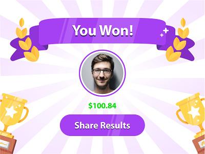 You Won achievement badge contest icon set illustration trophy winner flat success vector win