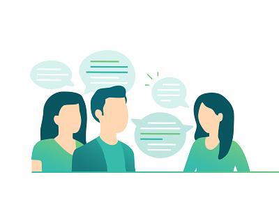 Talking team messaging character support user chat help customer support data design technology customer