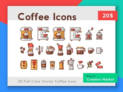 Coffee Icons ui page web card cute sale packaging vector mug illustration icon coffee caffeine