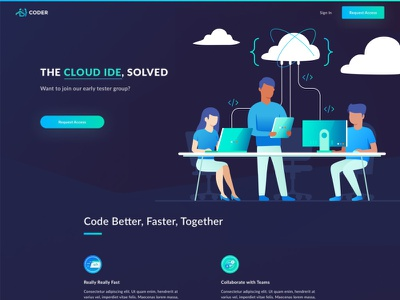 Coder Header ui sign up page tecnology collaboration business people characters gradient website ide coder cloud
