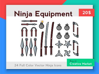 Ninja Equipment brainchild icon game icons game icons icon set china chinese japan japanese katana katanas samurai