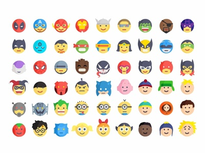 Superheroes And Villains Emoji villains superheroes emoji emoji set icons cute colorful flat 2d character reactions faces