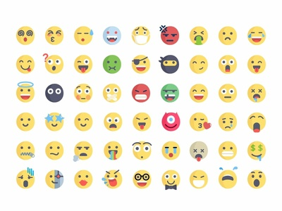 Emoji faces reactions character 2d flat colorful cute icons emoji set emoji illustration design