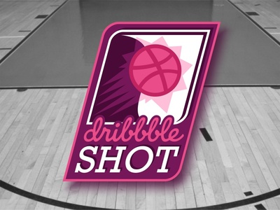 Dribbble Shot No.1 typography filled design illustration badge shot basketball player sticker pack sticker mule free giveaway playoff dribbble stickers