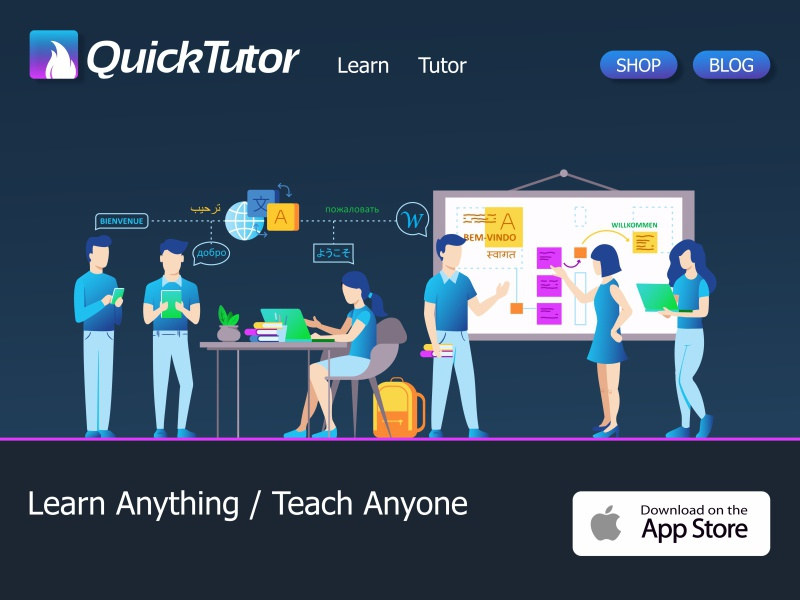 QuickTutor teach coder learning website gradient characters business people collaboration tutor page sign up ui