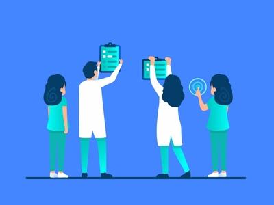 Dribbbler customer technology design health medical help chat user nurse character doctor team