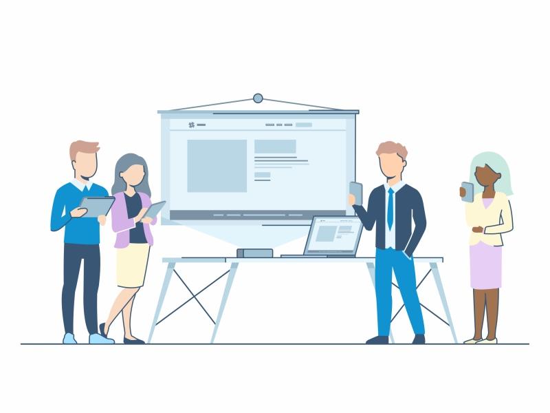 Deliver Information flat 2d peoples illustration design strategy data work project collaboration character design deliver information