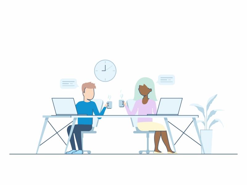 Integrate In A Morning After workspace work lineart laptop illustration identity desk character integrate in a morning after collaboration peoples team