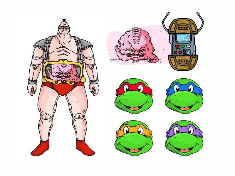 TMNT cartoon animation krang tmnt teenage mutant ninja turtles raphael michelangelo leonardo illustration graphic donatello comic books