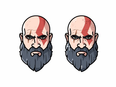 Kratos head flat beard tribute spartan minimal character face game kratos illustration god of war avatar