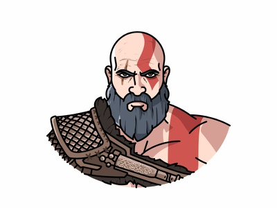 Kratos warrior avatar god of war illustration kratos game face character minimal spartan beard flat