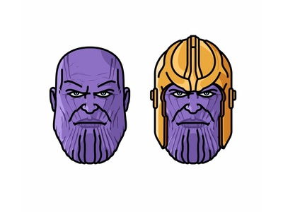 Thanos head avatar thanos illustration infinity war game face character superhero avengers war power flat