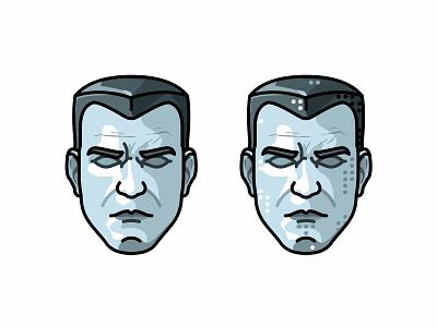 Colossus Head flat power war x-man superhero character face game deadpool illustration colossus avatar