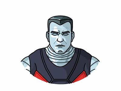 Colossus avatar colossus illustration deadpool game face character superhero x-man war power flat