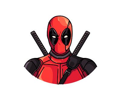 Deadpool line art superhero comic deadpool illustration marvel cute movie sticker wade wilson vector
