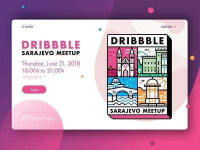 Sarajevo Dribbble Meetup skyline iconography sarajevo city building gradient ui ux page sign up dribbble meetup travel header