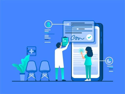 Health Care team doctor character nurse user chat help medical health hospital mobile customer