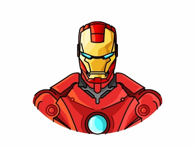 Ironman robot vector suit hero super movie avengers comic marvel face portret illustration