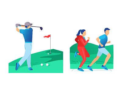 Golfer & Fitness health run gradient flat sport outside grass outdoor play game golf fitness