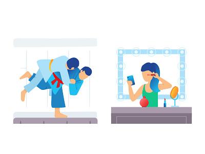 Jujutsu & Makeup illustration flat cosmetics beauty girl phone makeup color jujutsu sport fight man