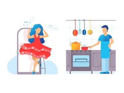 Dancing & Cooking kitchen food elegance beautiful vector party colours man woman peoples cooking dancing