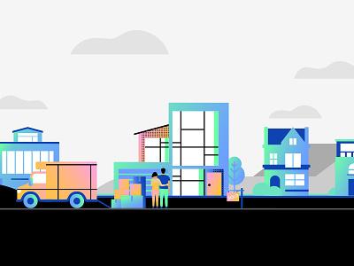 Homes For Sale real estate hand sale home houses property managed illustration sold web site ui ux