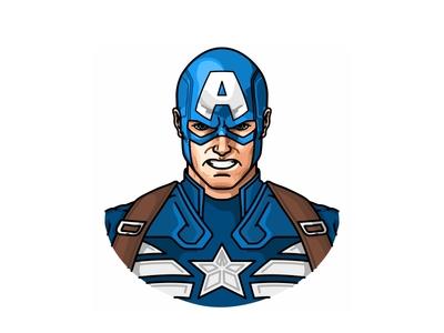 Captain America avatar illustration superhero avengers ironman character comic hero marvel vector captain america america