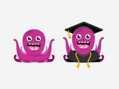 Octo graduation 🎓 cute octo sea illustration education octopus emoji language school character design emotion cartoon graduation