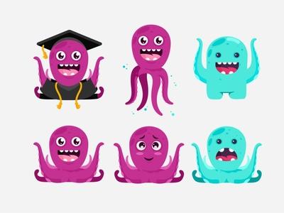 Octo 🐙 graduation cartoon emotion character design language school emoji octopus education illustration sea octo cute monster