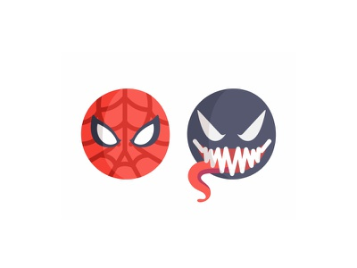 Spiderman vs Venom emoji set flat 2d hero comics character symbiote suit emoji venom monster marvel