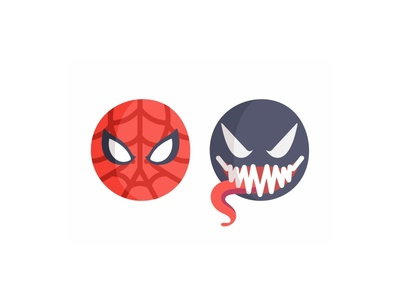 Spiderman vs Venom emoji set flat 2d hero comics character symbiote suit emoji venom monster marvel