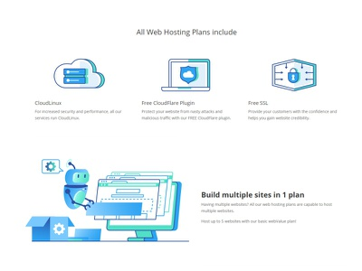 Web Hosting browser build collaboration product team web robot avatar cloud development landing page service