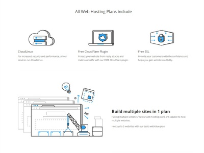 Web Hosting service landing page development cloud avatar robot web team product collaboration build browser