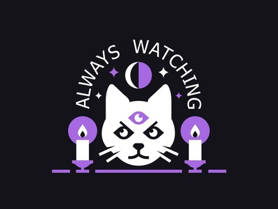Always Watching 👁️ angry cat candles mark symbol flat occult line illustration icon eye logo