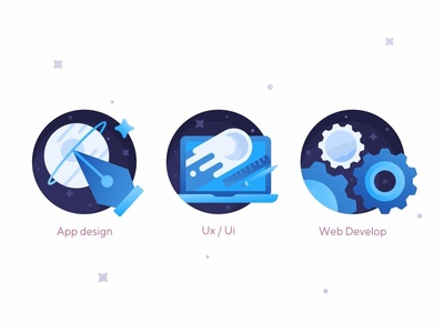 Space Icons technology pen tool web ui ux stars space sign up rocket planet landing page gradient discover develop cosmos