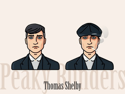 Thomas Shelby family mafia netflix face font suit gangsters tv show smoke cigare desigm avatar portrait peaky blinders illustration character