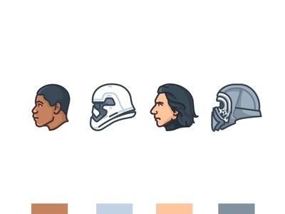 Finn & Kylo Ren face deffend mask yoda stormtrooper star wars r2d2 porg kylo k-2so illustration icons emoji set droid design darth vader darth maul chewbacca c3po bb8