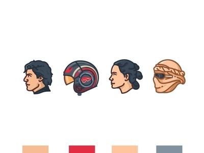 Poe & Rey yoda stormtrooper star wars r2d2 porg mask kylo k-2so illustration icons face emoji set droid rey poe darth vader darth maul chewbacca c3po bb8