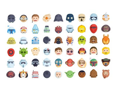 Star Wars Emoji force yoda stormtrooper star wars r2d2 mask droid darth vader villains superheroes reactions icons flat faces emoji set emoji cute colorful character 2d