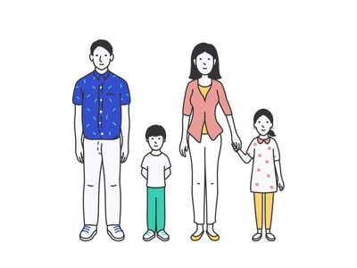Family character design 2d illustration line cute animation design love son parents face characters woman vector portrait mom kids illustration family dad