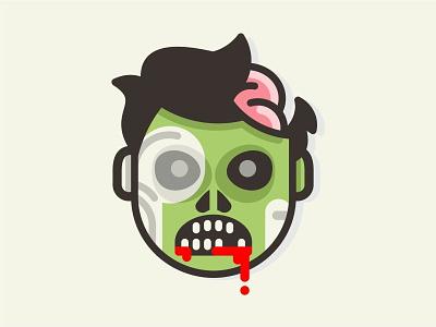 zombie 🧟♂️ zombie monster creepy scary children mark illustration stickermule halloween comic cartoon flat death funny dead fun cute horror branding character brand blood brain
