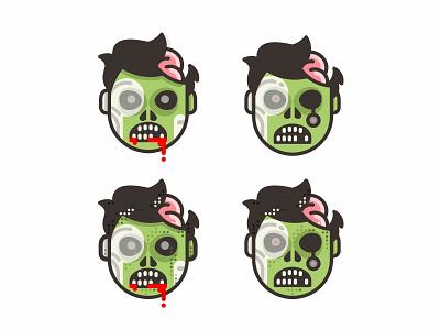 Zombies 😱 scary mark illustration horror halloween dead funny fun flat death cute creepy comic face cartoon character branding brand brain blood