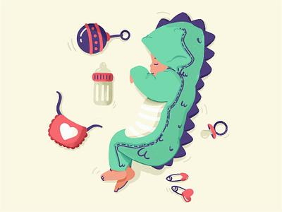 Baby Dino 👶🦕 sleep night vector family toys study sketch procreate pijam modern minimal kids illustration icon drawing draw dino cute children baby